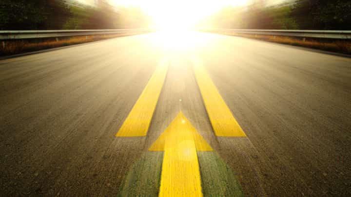 Speeding car, down a motorway