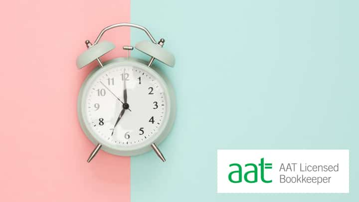 AAT Licensed Bookkeeper logo and an alarm clock