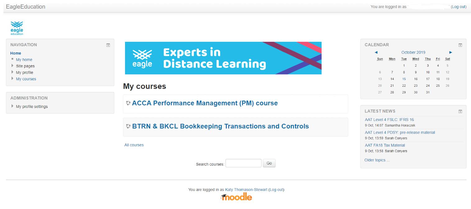 Eagle Moodle courses screenshot