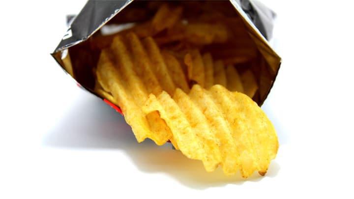 open packet of crisps