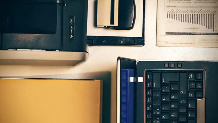 Accountants computer equipment on a desk